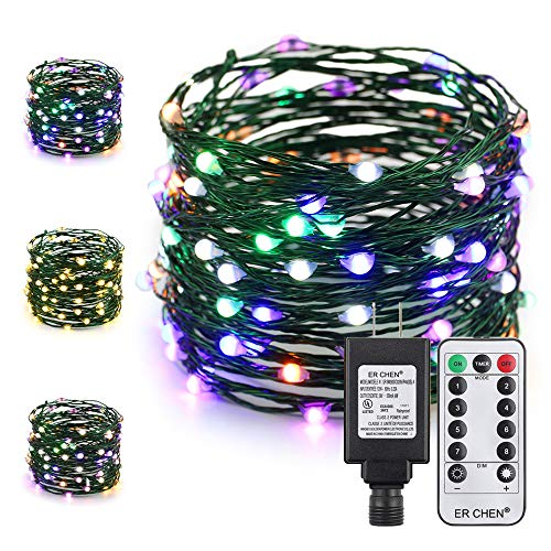 ER CHEN Color Changing LED String Lights Plug in with Remote, 39.5Ft 100 LED Green Copper Wire Fairy Lights 8Modes Christmas Lights with Timer for Bedroom, Patio, Garden, Yard?Warm White & Multicolor