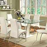 Glenview Contemporary Style White Finish Glass Top 5-Piece Dining Table Set