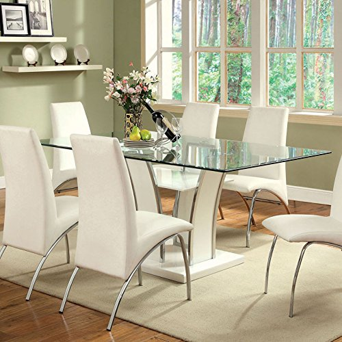Glenview Contemporary Style White Finish Glass Top 7-Piece Dining Table Set