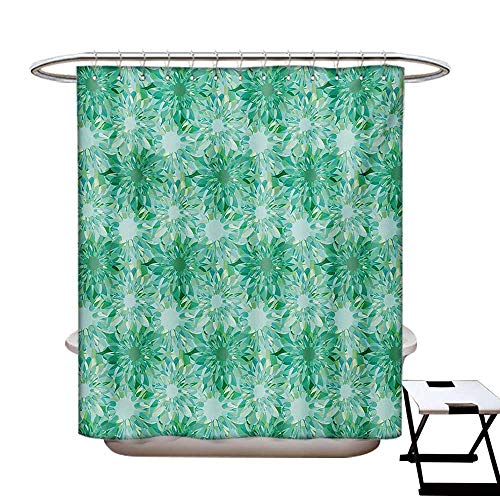 BlountDecor Turquoise Shower Curtains Sets Bathroom Floral Pattern with Beryl Crystal Guilloche Flowers Carving Art Elements Image Print Satin Fabric Sets Bathroom W69 x L70 ()