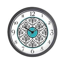 CafePress Turquoise Black White Damask Elegant Clock Wall Cl Unique Decorative 10 Wall Clock