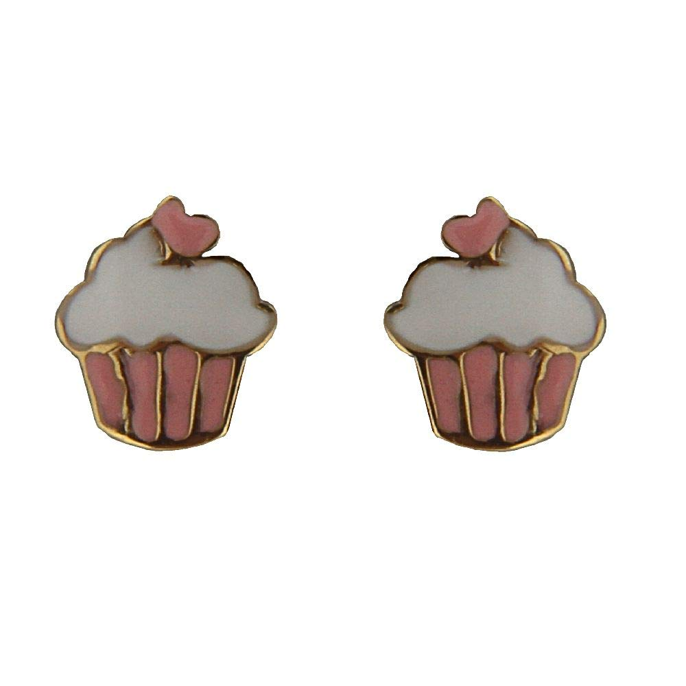 18k Solid Yellow Gold Pink and White Enamel Cupcake Covered Screwback earrings