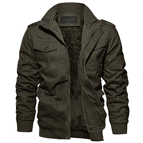 EKLENTSON Men's Thick Thermal Winter Jacket with Multi Pockets Zip Front Fleece Lined Military Jacket for Men