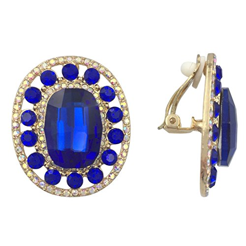 Oval Large Center AB Rhinestone Gold Tone Fancy Formal Prom Clip On Earrings (Royal Blue)
