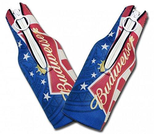 Bottle Neoprene Suit (Beer Budweiser - Neoprene Bottle Suits (2) | Bud Americana Beer Insulators with Zipper - Set of 2)