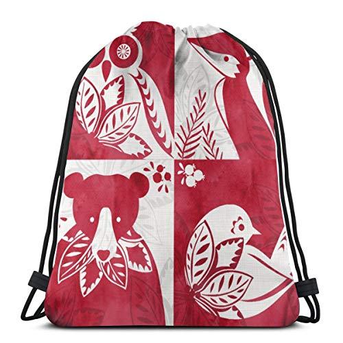 Poinsettia Gift Tags_13117 3D Print Drawstring Backpack Rucksack Shoulder Bags Gym Bag for Adult 16.9