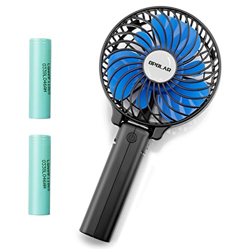 Battery Operated Mini Fans - OPOLAR Handheld Battery Operated Rechargeable Fan with Two 2200mAh Batteries, Mini Portable Personal Travel Fan with Folding Design, Strong Airflow, 3 Setting, Ideal for outdoor activities