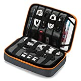 """BAGSMART 3-Layer Large Travel Cable Organizer Bag Electronics Accessories Case for 9.7"""" iPad, Kindle, Cables, Chargers, Batteries, USB Drives, Gray and Orange"""