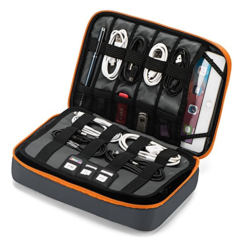 BAGSMART 3-Layer Large Travel Cable Organizer Bag Electronics Accessories Case for 9.7
