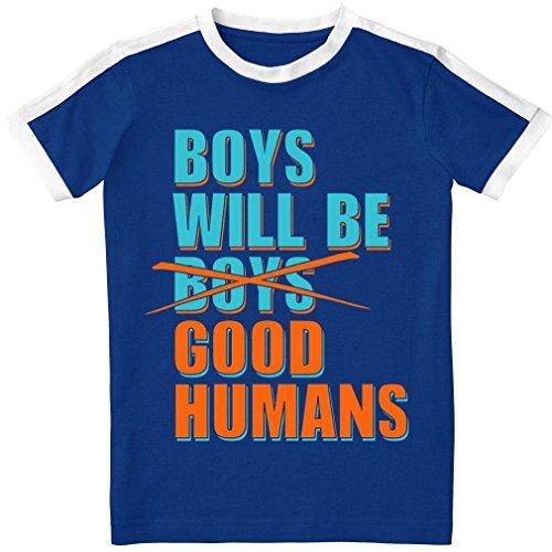 Baby Blue Ringer T-shirt - Boys Will Be Good Humans (TM) Kids Ringer Tee