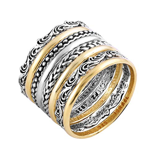 - PZ Paz Creations 925 Sterling Silver 8 Pcs Bohemian Stacking Rings Set for Women (11)