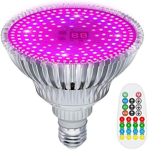 MZVUL LED Grow Light Bulb Timer Setting 100W Plant Light Full Spectrum with 3 Modes Auto On Off Grow Lights for Indoor Plants Garden Flowers Vegetables Greenhouse Hydroponic Growing E26 Base
