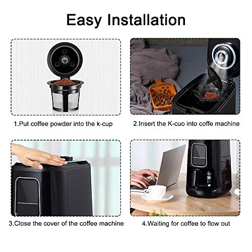 Reusable K Cups For Keurig 2.0 and 1.0 Brewers, Refillable K Cups for Keurig, Reusable Coffee Pods Keurig Coffee Filters 4pcs with Coffee Brush and Spoon, Eco Friendly (Set of 6pcs)