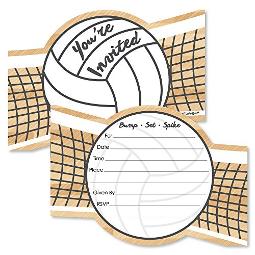 (Bump, Set, Spike - Volleyball - Shaped Fill-in Invitations - Baby Shower or Birthday Party Invitation Cards with Envelopes - Set of 12)