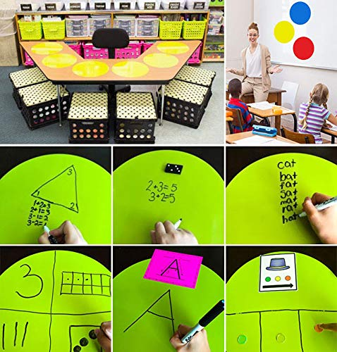 Senbos 8PCS Large Dry Erase Dots Circles Removable Bright Colors Peel & Stick Wall Decals for Classroom Table, Home and Office 11.8″ Diameter