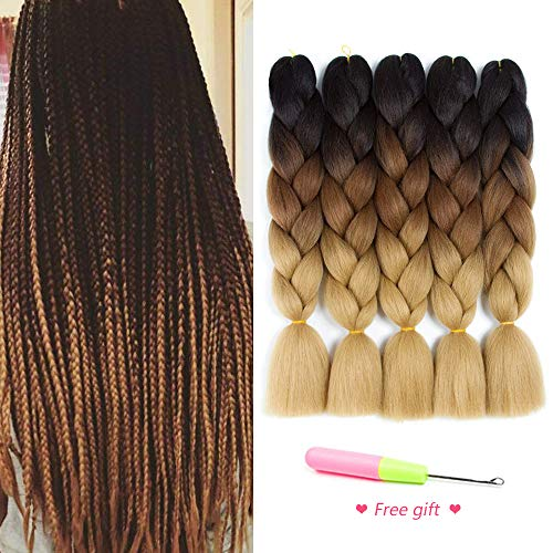 Ombre Braiding Hair Kanekalon Synthetic Hair Extensions for Box Braids and Twist Braids Hair Honey Blond Afro Jumbo Braiding (5Pcs/Lot 100g/pc 24inch)
