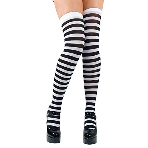 CANDYSTRIPE THIGH HIGHS BLACK AND WHITE FANCY DRESS