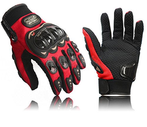 Coolsky Black Short Sports Leather Motorcycle Motorbike Summer Gloves (Red, Large)