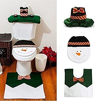 Ohuhu Christmas Santa Toilet Seat Cover Paper Box And Mat Set