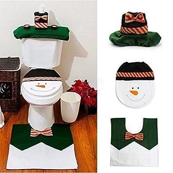 Ohuhu Christmas Santa Toilet Seat Cover Paper Box And Mat Set