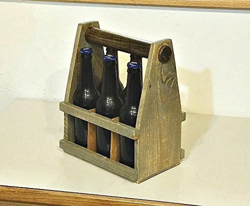 Upcycled pallet beer tote, 6 pack carrier, rustic bottle holder, BBQ utensil rack, picnic travel, solid wood caddie, reclaimed pine, outdoor