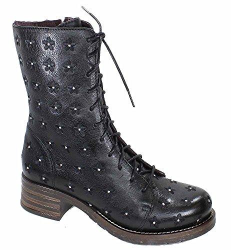 Brako Stiefel Boots schwarz 8432 traviata negro military Leder Blumen