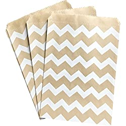 Kraft Brown and White Treat Sacks - Chevron Favor Bags - 5.5 x 7.5 inches - Bulk 100 Pack