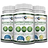 Garcinia Cambogia Pure Extract 95% HCA (Top Proven Potency) by Research Verified - All Natural Appetite Suppressant and Weight Loss Supplement - 100% Money Back Guarantee!(pack of 3)
