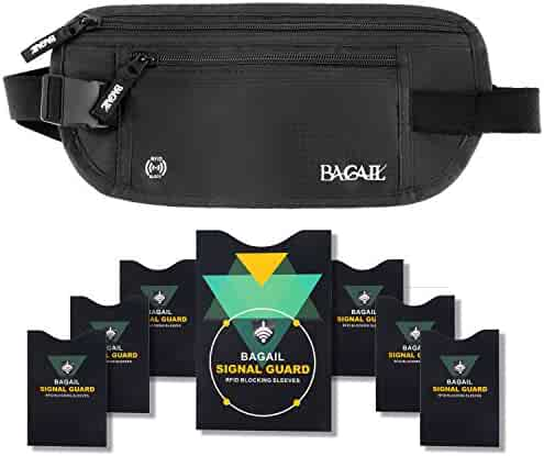 Bagail Money Belt Pouch w/ Dual Clip For Travel With RFID Passport & Credit Card Sleeves