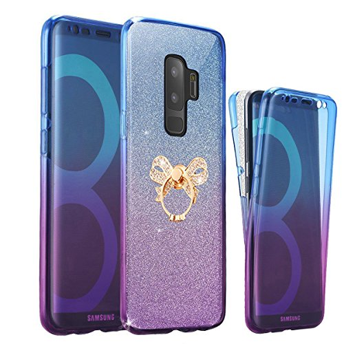 Full Body Coverage (Samsung Galaxy S9 Plus Case,AMASELL [Full-Body 360 Coverage protective] Bling Scratch-Resistant Crystal Soft TPU Silicone Rubber Cover with Holder For Galaxy S9 Plus,Blue Purple+bowknot Kickstand)