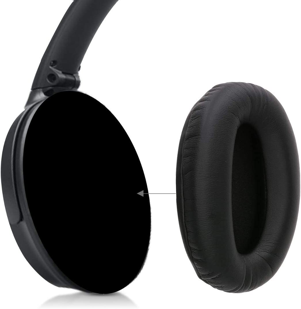 kwmobile 2X Earpads for Sony MDR-1000X WH-1000XM2 Black PU Leather Replacement Ear Pads for Over-Ear Headphones