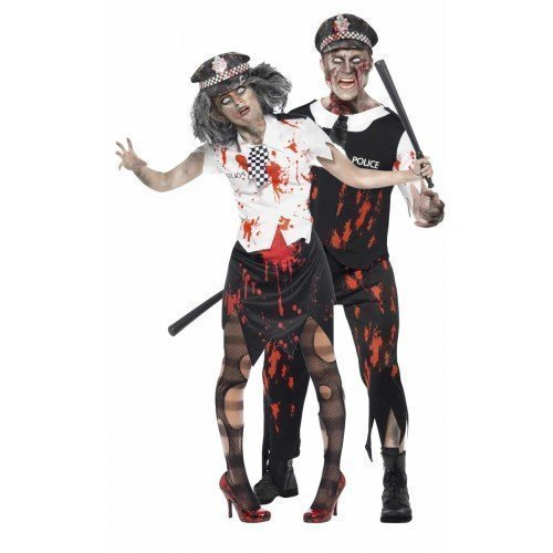 Mens & Ladies Couples Fancy Dress Dead Zombie Policeman & Policewoman Cop WPC Latex Halloween Corpse Costumes Outfits (Ladies 16-18 & Mens Large) -