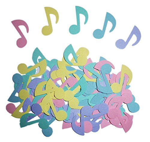 """Custom & Fancy {1"""" Inch} 75 Pieces of Large """"Table"""" Party Confetti Made of Premium Card Stock w/ Music Notes Rainbow Pastel Colors Decorative Crafts Design [Red, Purple, Yellow, Blue & Green] by mySimple Products"""
