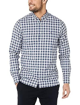 TOMMY HILFIGER Men's Slim Fresh Chequered Shirt, Bright White/Blue Quartz, XS