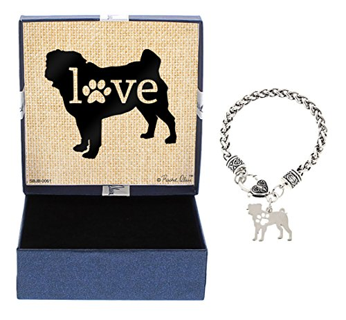 Mother's Day Gifts Pug Bracelet Gift Love Dog Breed Silhouette Charm Bracelet Silver-Tone Bracelet Gift for Pug Owner Jewelry Box Mothers Day Gift Idea For A Rescue Dog Mom