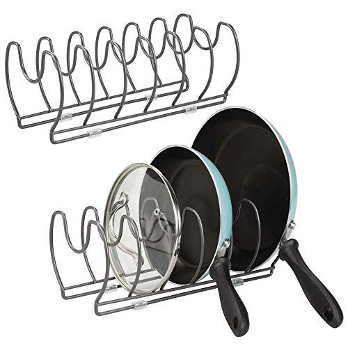 mDesign Metal Wire Pot/Pan Organizer Rack for Kitchen Cabinet, Pantry Shelves, 6 Slots for Vertical or Horizontal Storage of Skillets, Frying or Sauce Pans, Lids, Baking Stones, 2 Pack - Graphite Gray