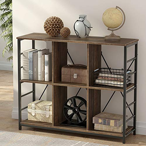 Tribesigns 3 Shelf Bookcase, Rustic 3-Tier Etagere Bookshelf with Metal Frame, Vintage 6-Cube Storage Shelf Organizer for Home Office