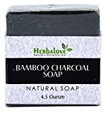 Bleaching Skin Recipes - Herbalove Bamboo Charcoal Natural Handmade Soap Bar All Natural Detoxifying Face & Body Cleanser, Nourishing, Refreshing and Rejuvenating Your Skin. Perfect For All Skin Types.