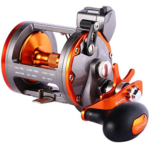 Sougayilang Line Counter Trolling Reel Conventional Level Wind Fishing Reel-Thunder LS II 4000R-Right Handed