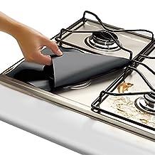 "Gas Range Protectors Prime - Black Stovetop Burner Protector Liner Cover - 8 Pack 10.6"" x 10.6"" - Reusable, Non-Stick, Dishwasher Safe, Easy to Clean - FDA Approved + FREE Ebook"