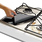 Stove Burner Covers Gas Range Protector Reusable Top Hob Liners Dishwasher Safe, Easy to Clean PTEE Non-stick Double Thickness 0.2mm 4 Pack