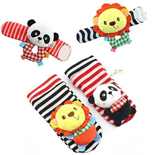 - Happy Monkey 4pcs Wrist Socks Foot Rattles Toys 0-12month Baby (stripe)