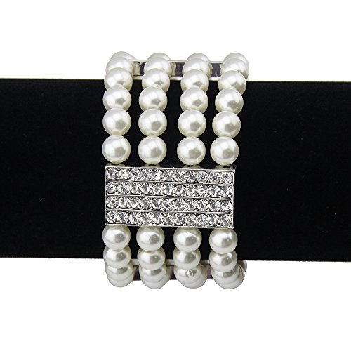 BOCAR Statement Multilayer Women Cuff Acrylic Pearl Rhinestone Bangle (BR-1021-white)