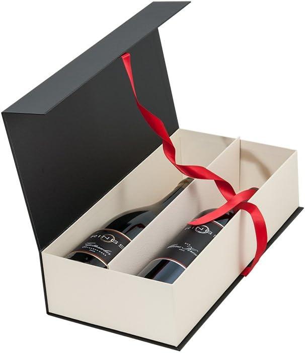 Exklusiver Pr/äsentkarton f/ür Ihr Weingeschenk mit Schleife Edle Wein Geschenkverpackung f/ür zwei Flaschen Luxus Geschenkkarton 2er schwarz wei/ß 5 St/ück im Set mit feiner Strukturpr/ägung Rot