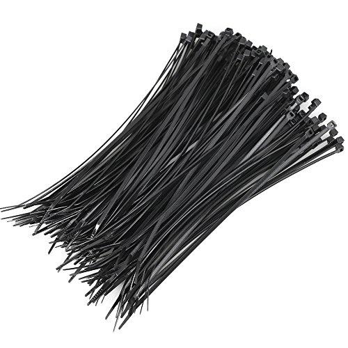 World Pride 1000 Pcs Black Plastic Cable Zip Tie Fasten Wrap 200mm x 2mm