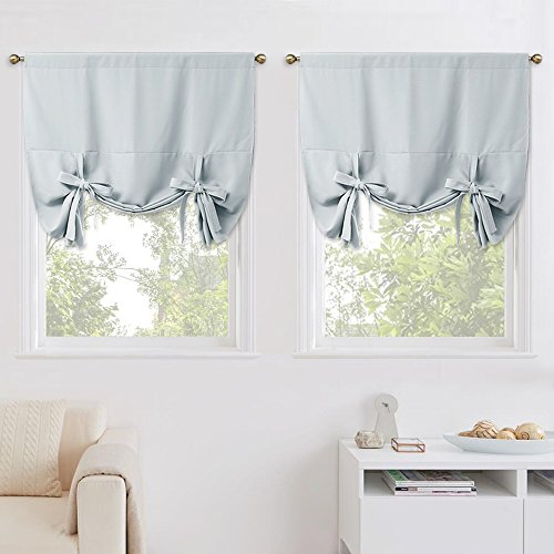 (NICETOWN Balloon Shades Window Treatment Valances - Room Darkening Curtains Tie Up Shades for Small Window (Pack of 2, Greyish White, Rod Pocket Panel, 46