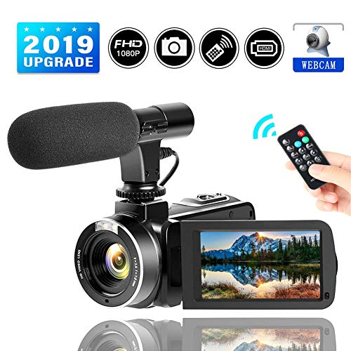 Video Camera Camcorder FHD 1080P Digital Camera 24.0MP 16X Digital Zoom 3.0 Inch LCD 270 Degrees Rotatable Screen for Selfie Pause Function with External Microphone (Two Batteries) (Black-1)