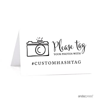 Amazoncom Andaz Press Personalized Hashtag Table Tent Place Cards - Wedding table tents
