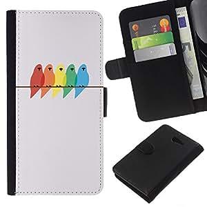 EJOY---La carpeta del tirón la caja de cuero de alta calidad de la PU Caso protector / Sony Xperia M2 / --colores pájaros pintura minimalista abedul