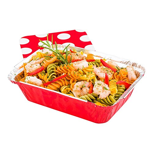 Disposable Aluminum Foil Take Out Food Containers, To Go Pans with Lids - 16 oz - Catering, Meal Prep, Carry Out - Red Foil with Polka Dot Lid - 50ct Box - Restaurantware